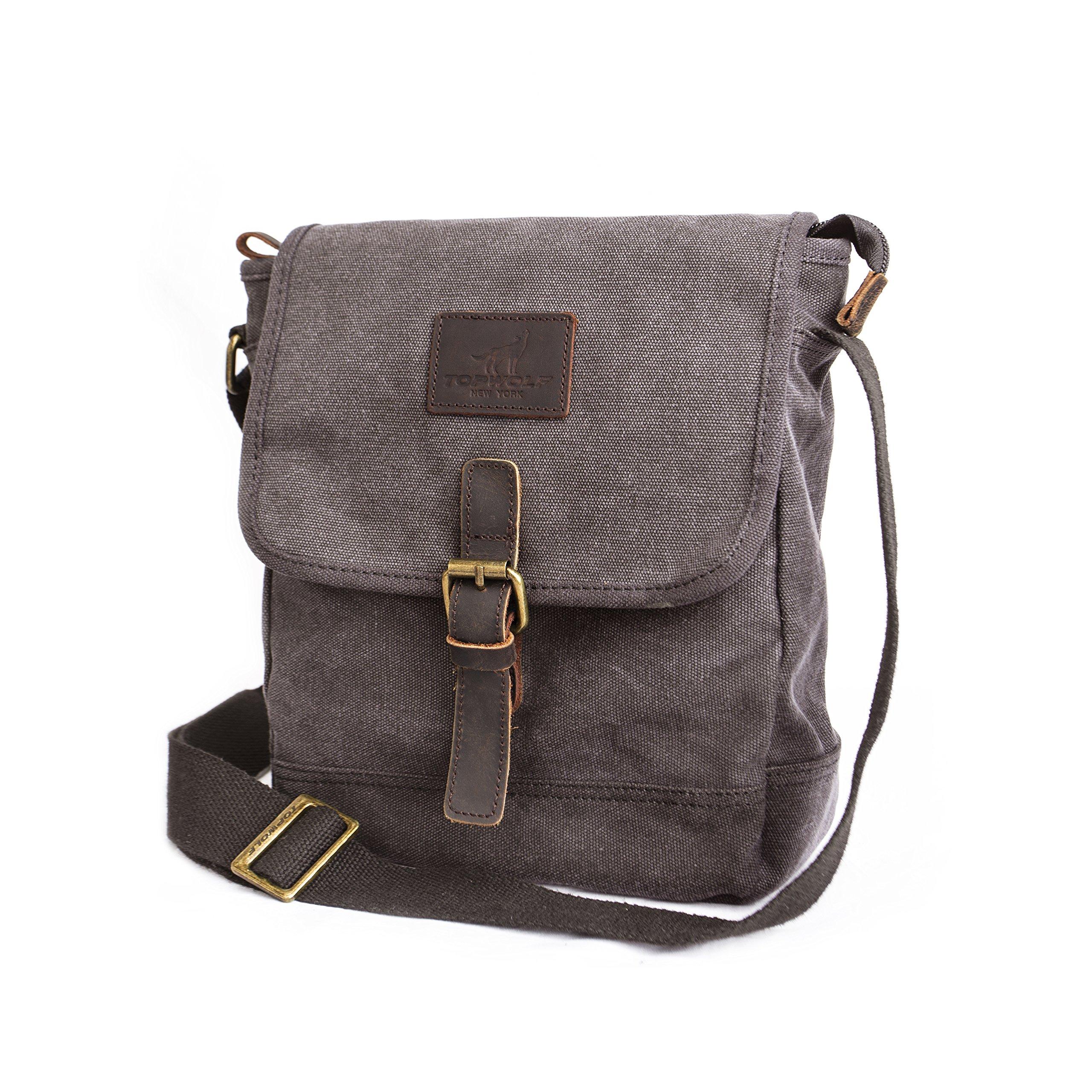 Canvas Crossbody Bag TOPWOLF Small Messenger Casual Travel Working Tools Bag Shoulder Bag Easily Hold Phone Handset Key Sunglasses Khaki