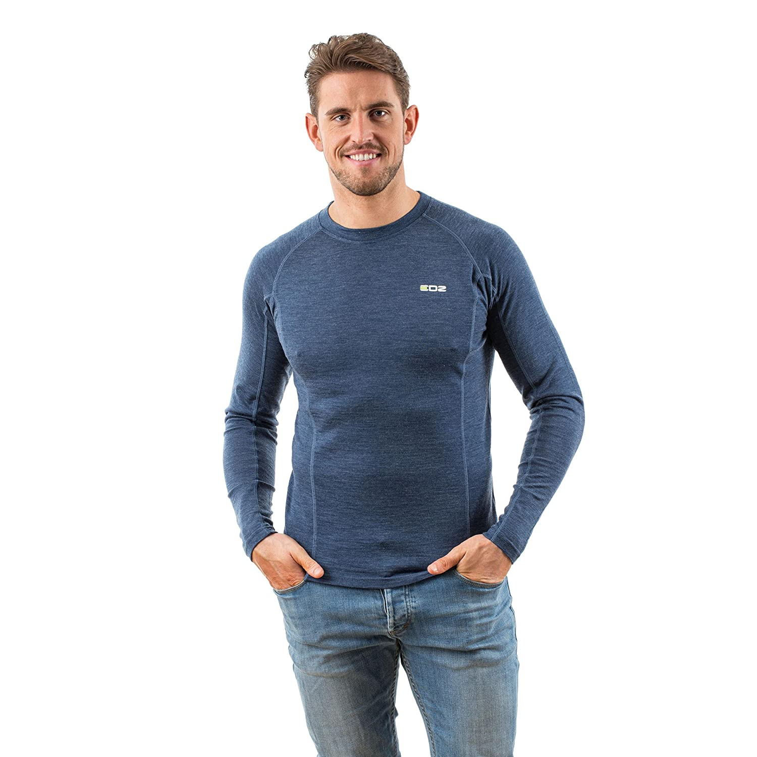 EDZ Men's Merino Wool Long Sleeve Base Layer Top
