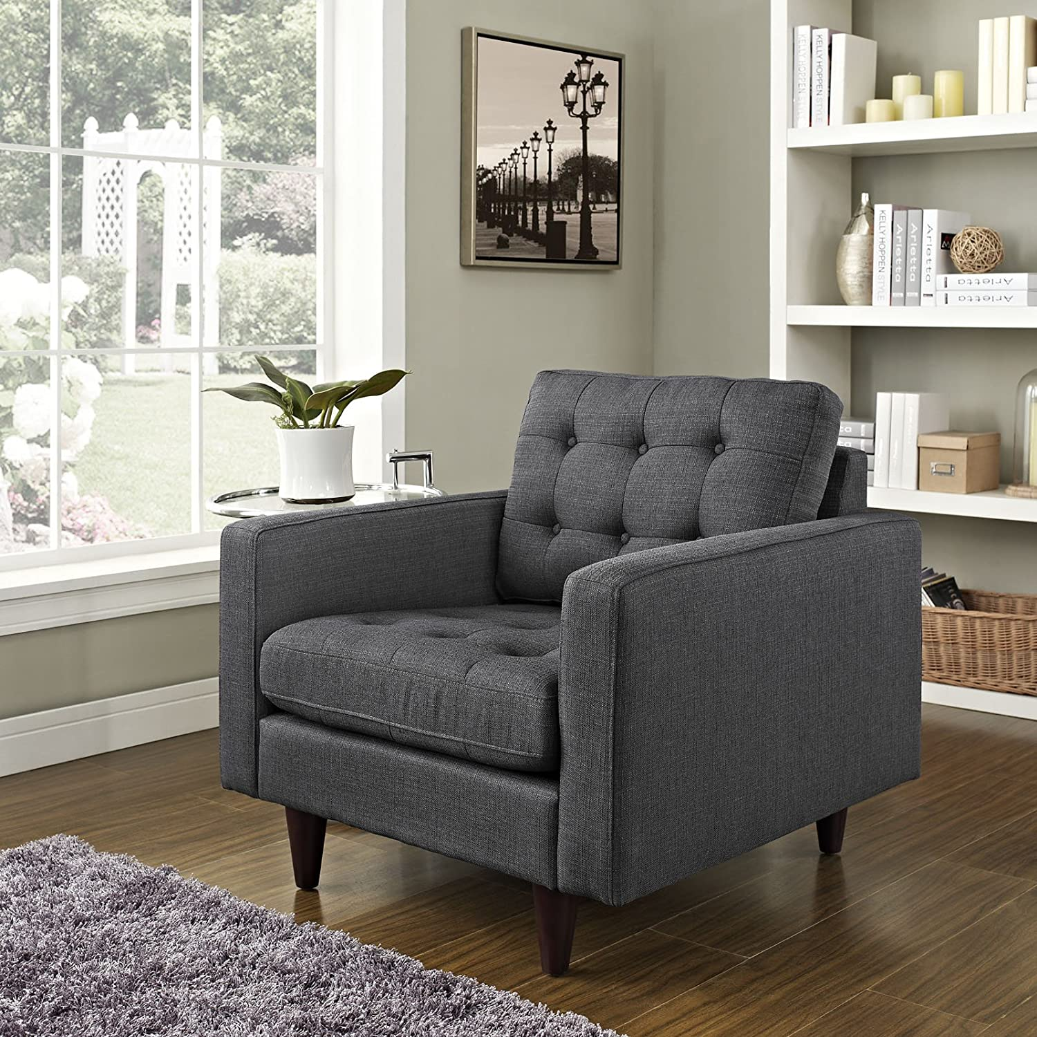Modway Empress Mid-Century Modern Upholstered Fabric Armchair In Gray