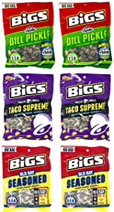 Bigs Sunflower Seeds Variety Pack of 6 (5.35 Ounces) Taco Supreme, Dill Pickle and Old Bay Seasoned Seeds