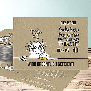 Einladung Zum 40 Geburtstag, Hangover 40 15 Karten, Horizontal Einfach  148x105 Inkl. Weiße
