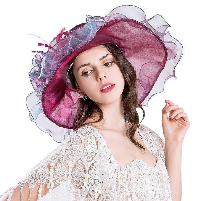 730f1bf26d730 Obosoyo Women Foldable Organza Church Derby Hat Ruffles Wide Brim Summer  Beach Sea Sun Hats WineRed