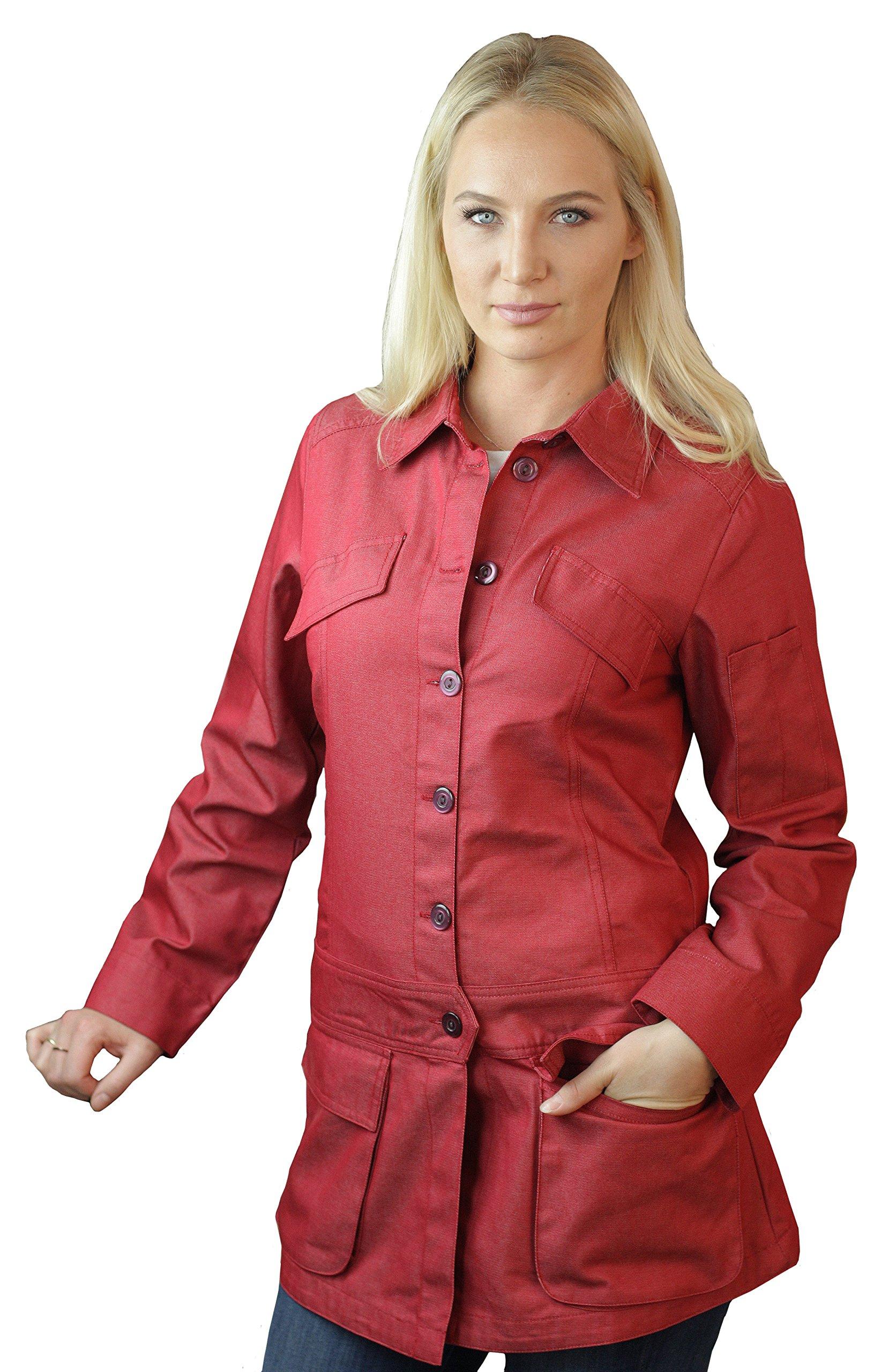 ASD Living Stylized Red Denim Long Sleeve Chef Coat,X-Large