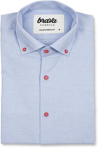Brava Fabrics | Camisa Hombre Manga Larga Estampada | Camisa Azul para Hombre | Camisa Casual Regular Fit | 100% Algodón | Modelo Red Dots Essential: Amazon.es: Ropa y accesorios