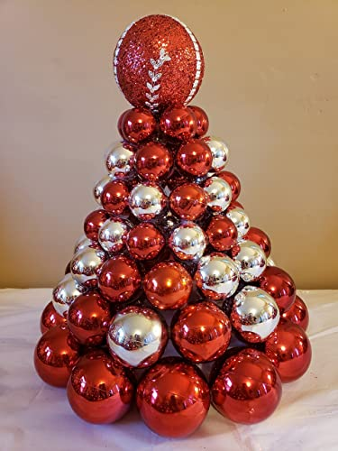 pre lit christmas tree made from ornaments multi color lights centerpiece
