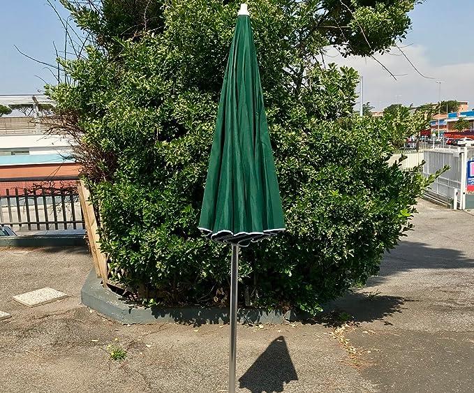 Ombrellone Parasole da Spiaggia in Alluminio da 220 cm con Snodo per la Reclinazione Colore Verde Giardino e Balcone GLOBOLANDIA SRL 89503VER per Spiaggia