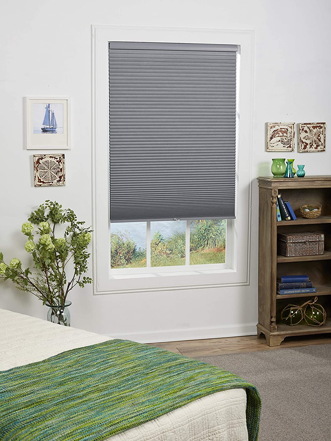 29W x 64H Inches Anchor Gray DEZ Furnishings QEGRWT290640 Cordless Blackout Cellular Shade