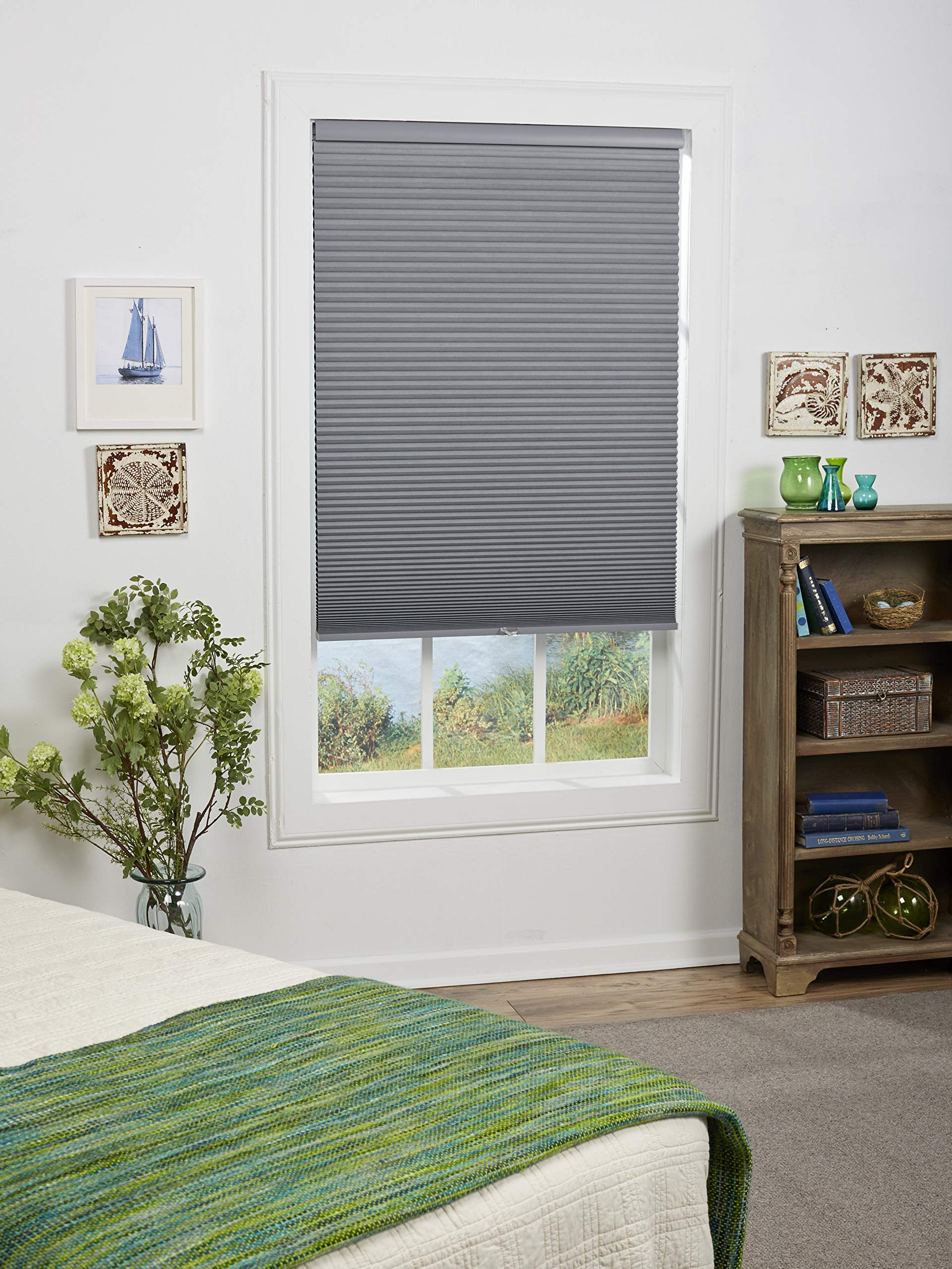 DEZ Furnishings QEGRWT470640 Cordless Blackout Cellular Shade, 47W x 64H Inches, Anchor Gray by DEZ Furnishings