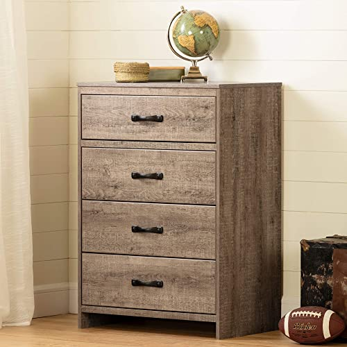 South Shore Hankel 4-Drawer Chest Storage Unit-Weathered Oak