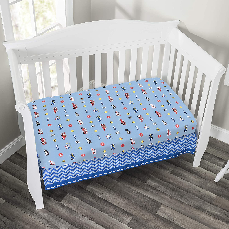 Includes Quilt Choo Choo Train Baby Crib Bedding Set Nursery Bedding Set Everyday Kids 3 Piece Boys Crib Bedding Set Fitted Sheet and Dust Ruffle