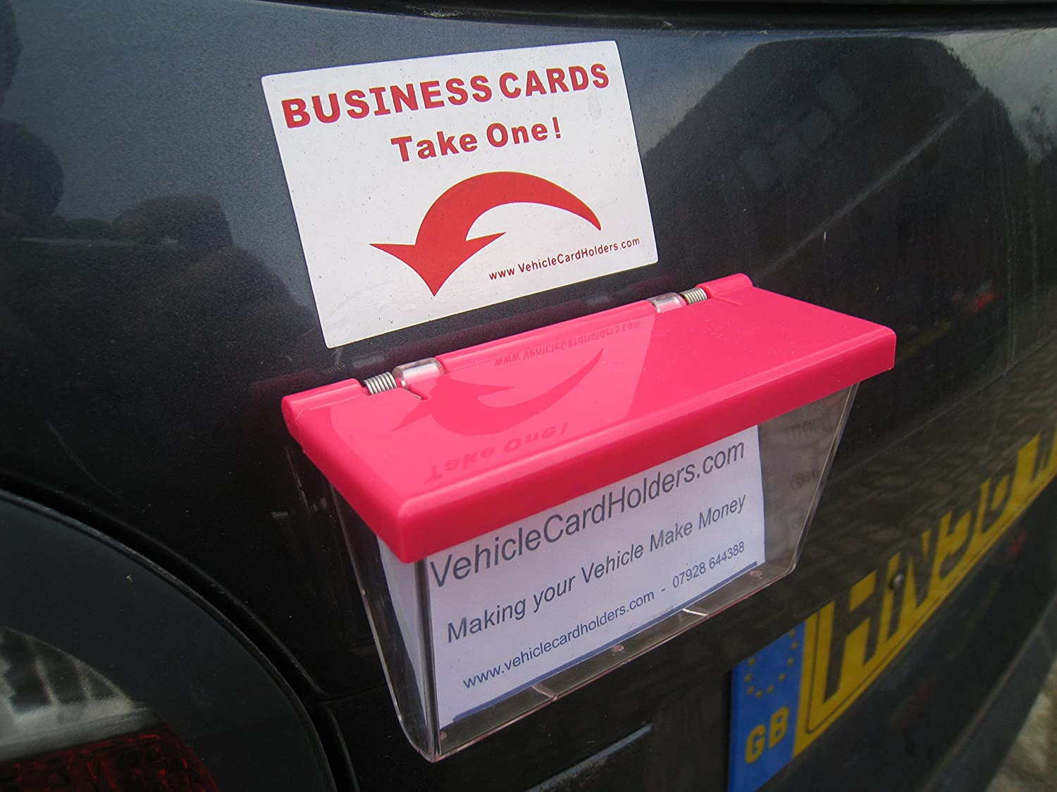 Outdoor Vehicle Business Card Holder Box - Clear Box with Pink Lid ...