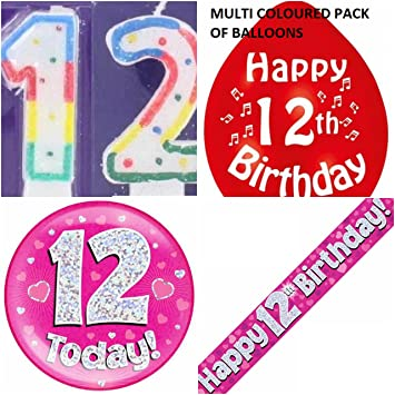 12th Birthday Party Set Girls Age 12 Girl Kit Banner Balloons Candle