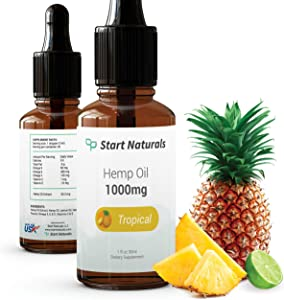 Start Naturals 1000 mg High-Concentration Flavored Hemp Oil, Natural Hemp Extract for Pain, Stress, and Anxiety Relief (Tropical, 1 Fluid Ounce)…