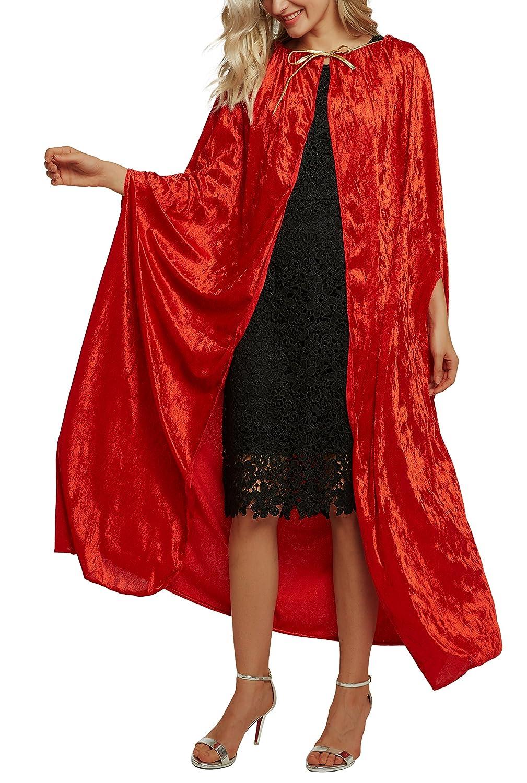 Urban CoCo Women's Costume Full Length Crushed Velvet Hooded Cape Bingo E-Commerce SQ0001G