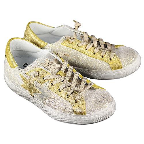 18357b936c 2 Star Scarpe Donna MOD. Sneaker Low Oro-Silver Art.2SD1862: Amazon ...