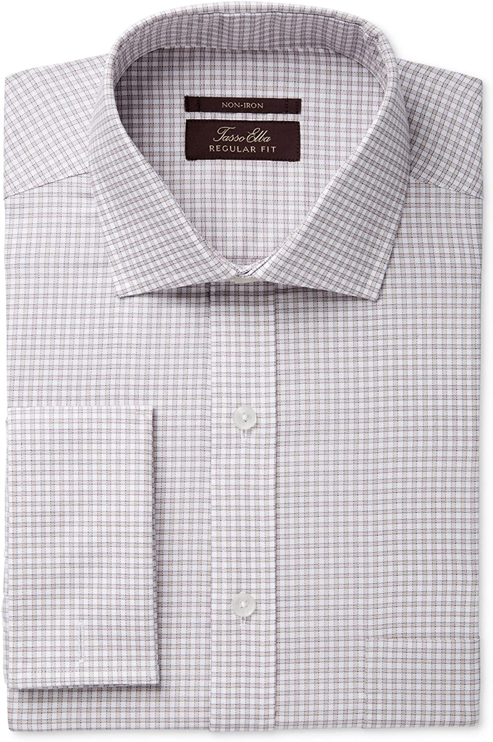 Tasso Elba Mens Non-Iron Tonal Button Up Dress Shirt