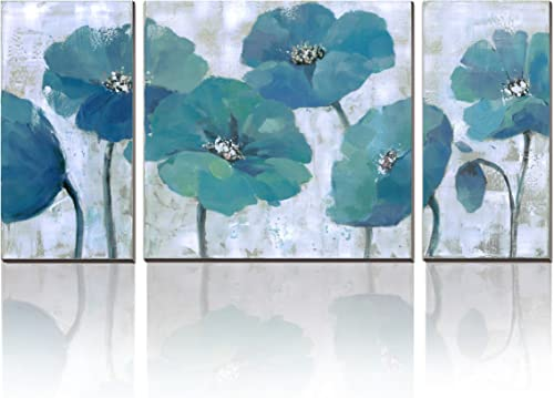 3Hdeko – Teal Flower Painting Aqua Blue Floral Wall Art Prints on Canvas for Living Room Bedroom 3 Pieces Abstract Wall Decor