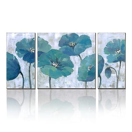Amazon.com: cubism-floral paintings on canvas 3 Panels Modern Prints ...