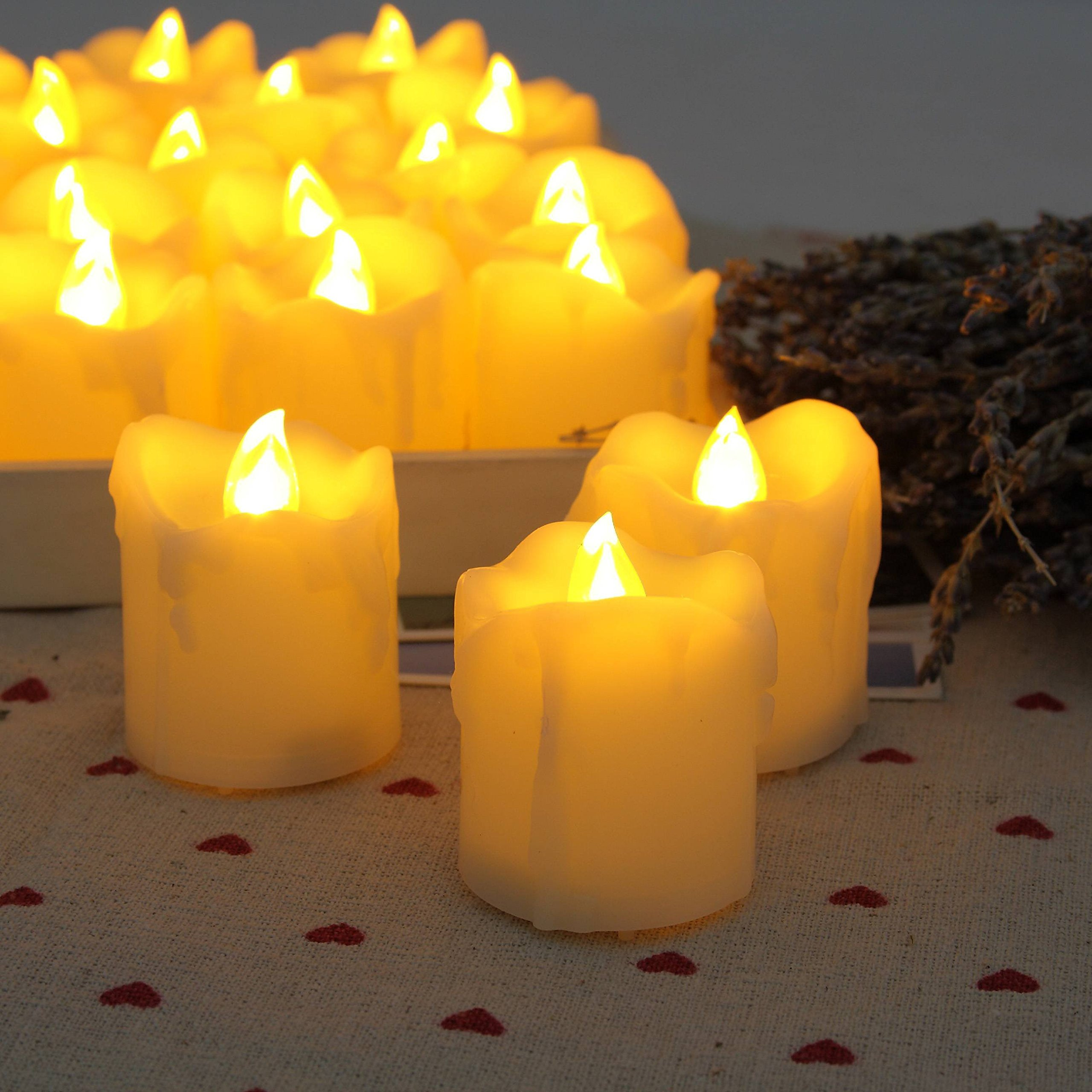 "Any-door 12-PACK Flameless LED Votive Candles Drips Timer Battery Included 2.0""X1.5"""