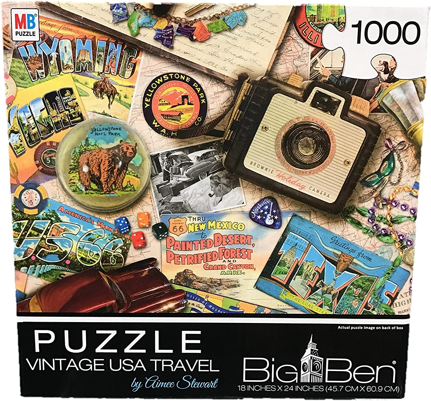 Cardinal Games Big Ben Jigsaw Puzzle Vintage USA Travel 1000 Pieces