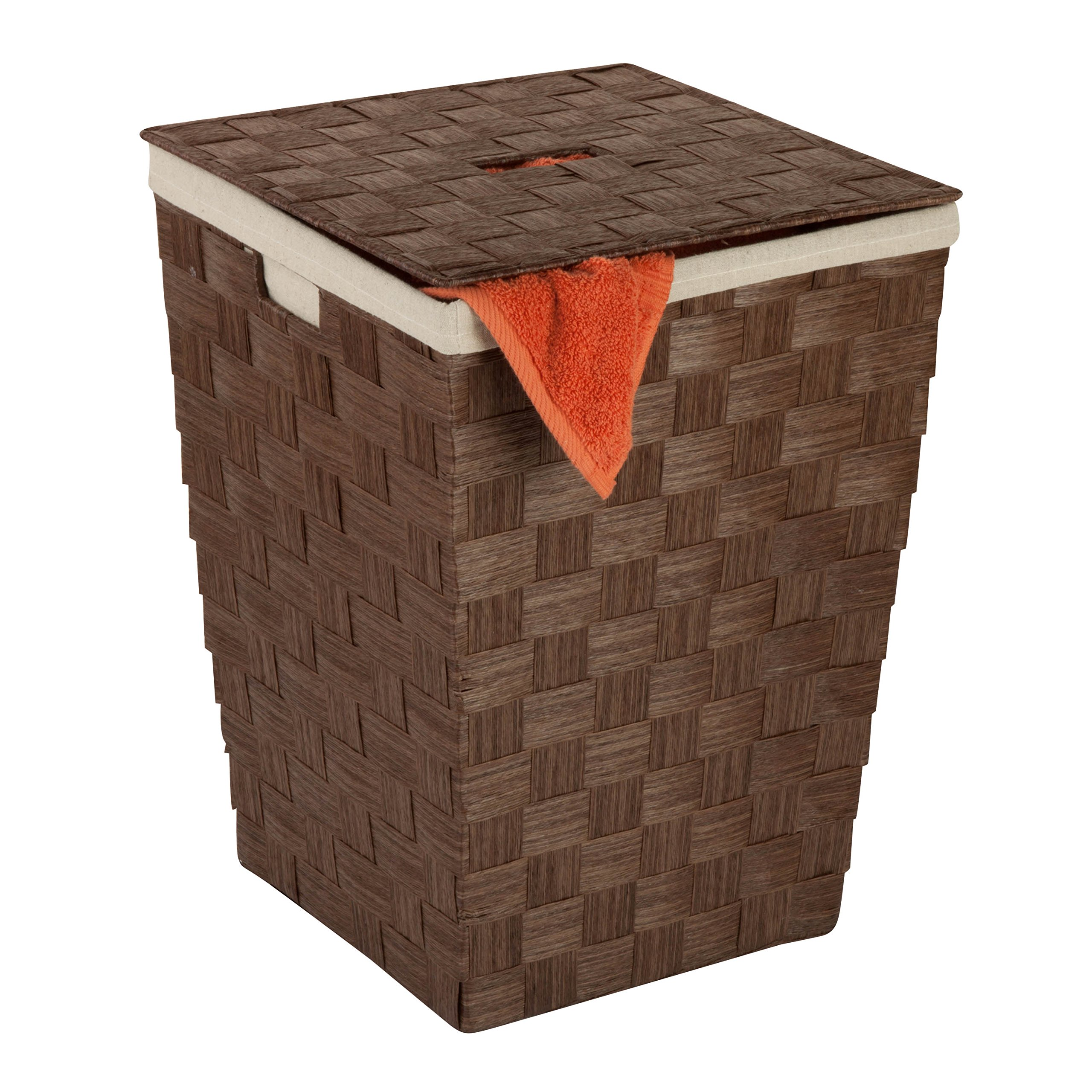 Honey-Can-Do HMP-03729 Woven Hamper with Natural Cotton Liner and Lid, Brown, 15 by 20