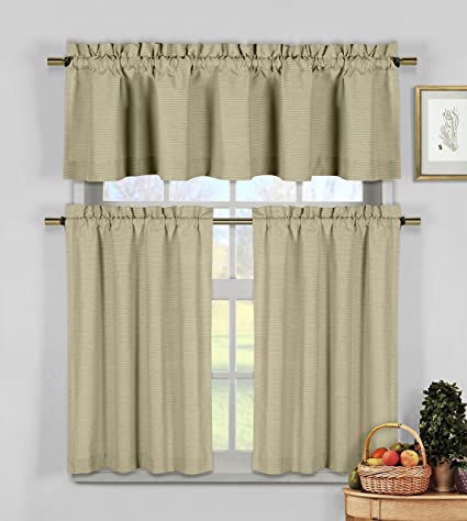 Amazon Com Taupe 3 Pc Kitchen Window Curtain Set Natural Cotton
