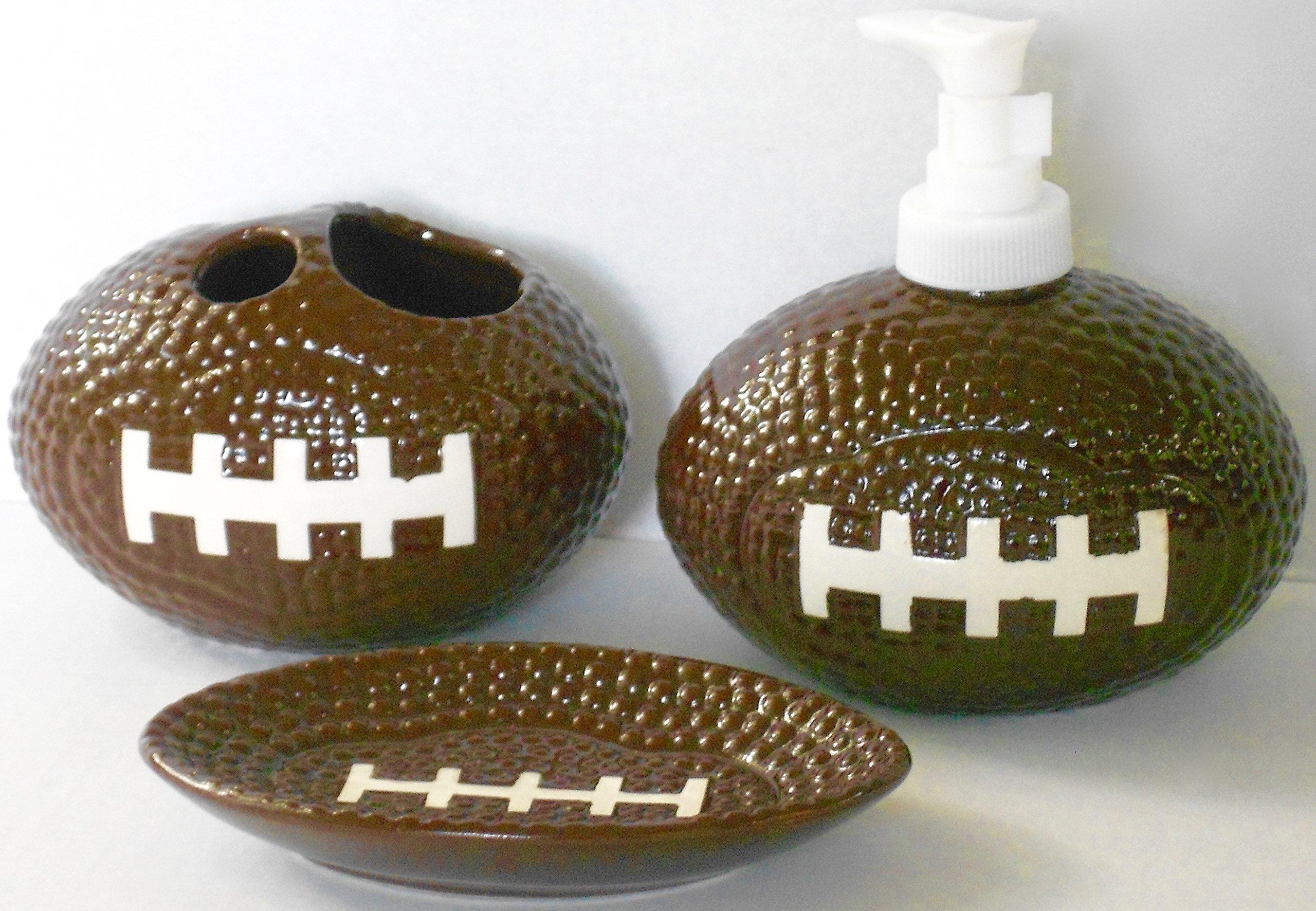 Sports Themed 3 Piece Stoneware Bathroom Accessories Bundle (Football)