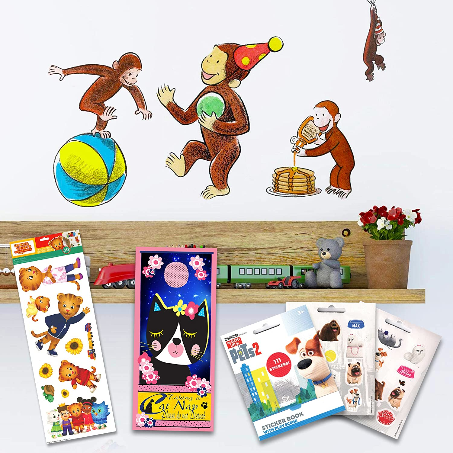 RoomMates Curious George Wall Decal Set - 22 Pc Curious George Room Decor Bundle with Bonus Daniel Tiger Decals and Secret Life of Pets Stickers! (RoomMates Curious George)