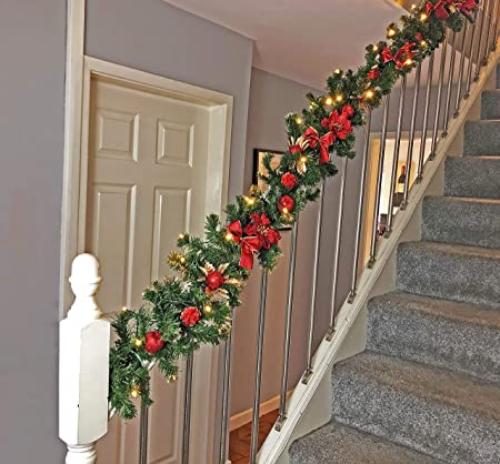 Your Home Online Lit Red Stairs Luxury Fireplace Christmas Garland 9ft Swag 40 Warm White Light Amazon Co Uk Kitchen Home