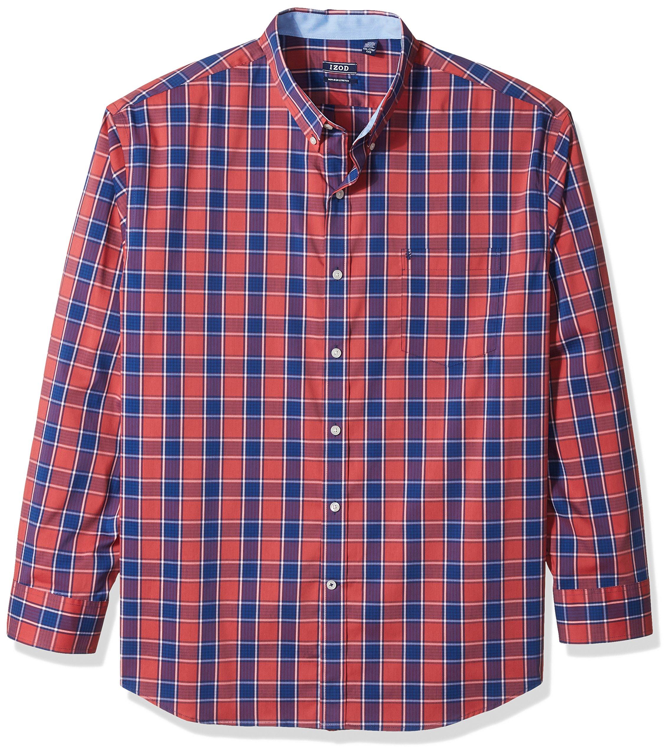 IZOD Men's Advantage Performance Non Iron Stretch Long Sleeve Shirt, Saltwater Red, XX-Large