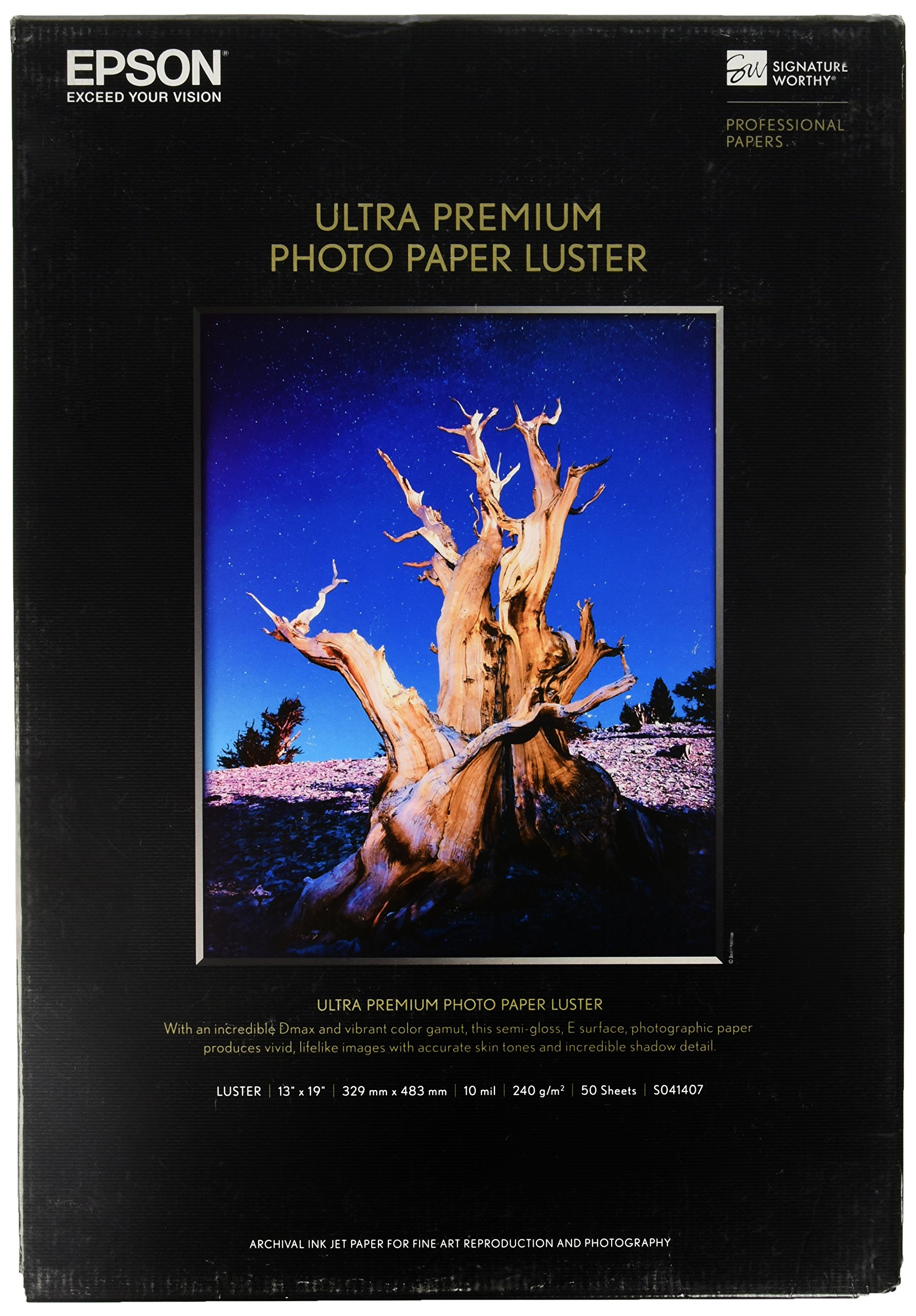Epson Ultra Premium Photo Paper LUSTER (13x19 Inches, 50 Sheets) (S041407) by Epson