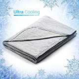 "Elegear Revolutionary Queen Size Cooling Blanket Absorbs Body Heat to Keep Adults, Children, Babies Cool on Warm Nights. Japanese Q-Max 0.4 Cooling Fiber,100% Cotton Backing Blanket- Grey, 78""x86"""