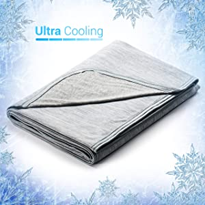 Elegear 51''x67'' Cooling Throw Blanket for Couch, Japanese Q-Max 0.4 Cooling Fiber Absorb Body Heat 100% Cotton Backing Summer Travel Blanket Throws for Kids/Bed/Sofa, Hypoallergic,Machine Washable