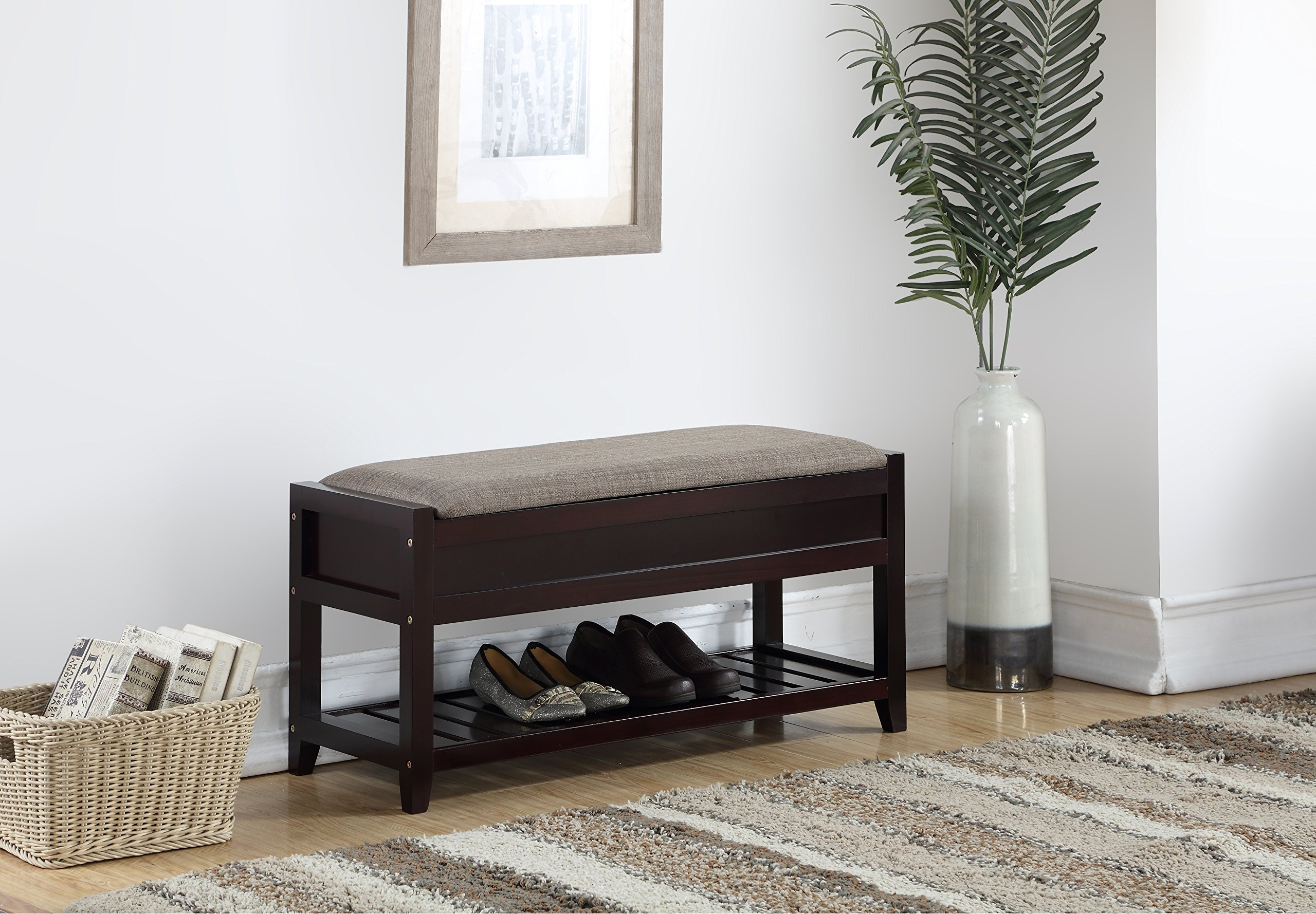 Roundhill Furniture 3431EP Rouen Seating Bench with Shoe Storage, Espresso