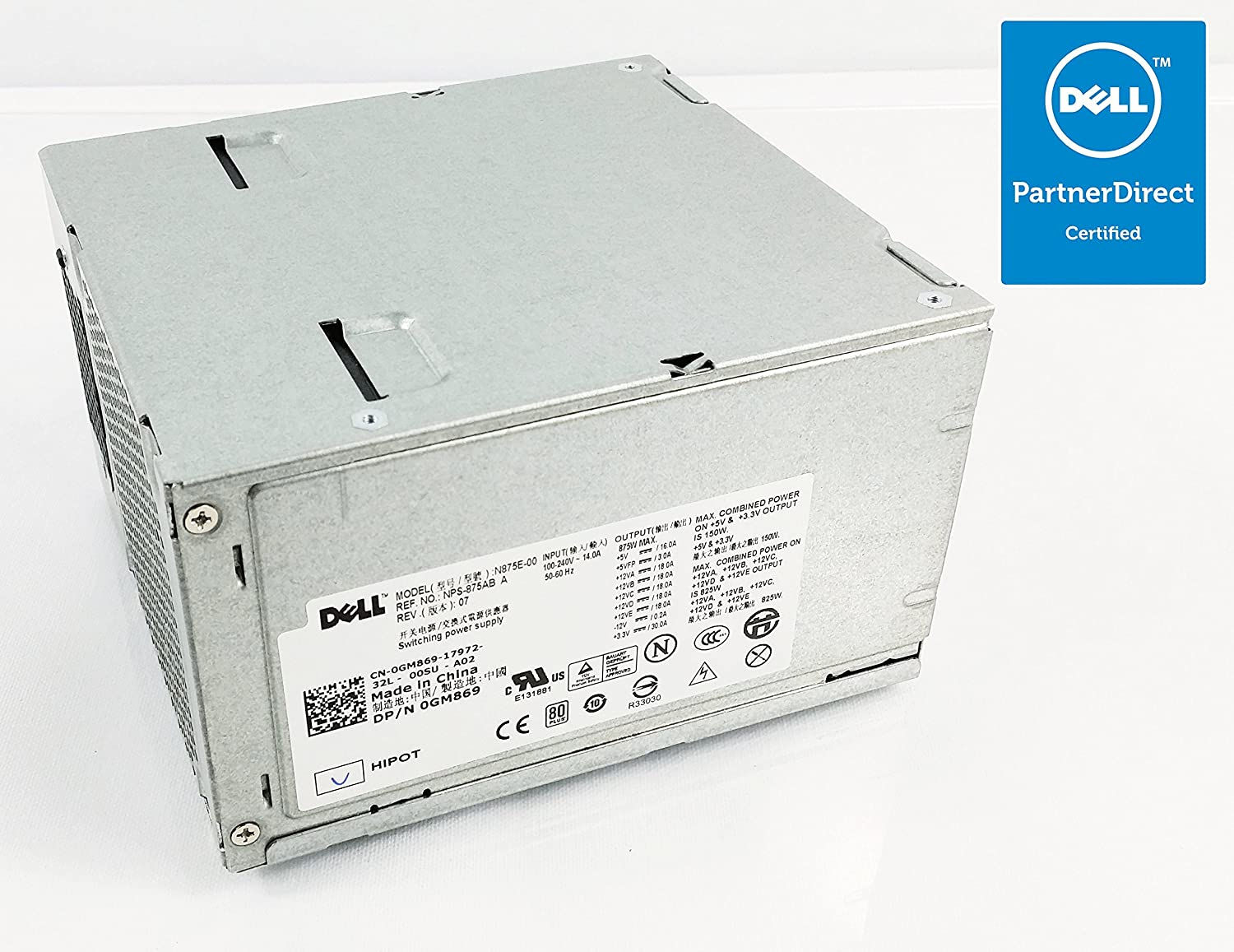 H875E-00 DOES NOT INCLUDE WIRING HARNESS PSU Genuine GM869 DELL Precision Workstation PWS Compatible Model Numbers: NPS-875AB A Compatible Part Number: YN642 T5400 Tower Systems 875w Power Supply