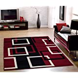 "Sweet Home Stores Modern Boxes Design Area Rug, 8'2""X9'10"", Dark Red"