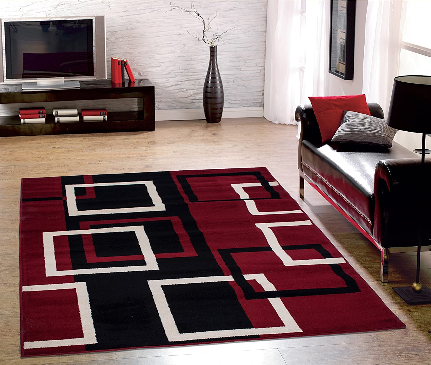 Amazon.com: Sweet Home Stores Clifton Collection Modern Boxes Design Area  Rug (5u0027 W X 7u0027 L), Dark Red: Kitchen U0026 Dining