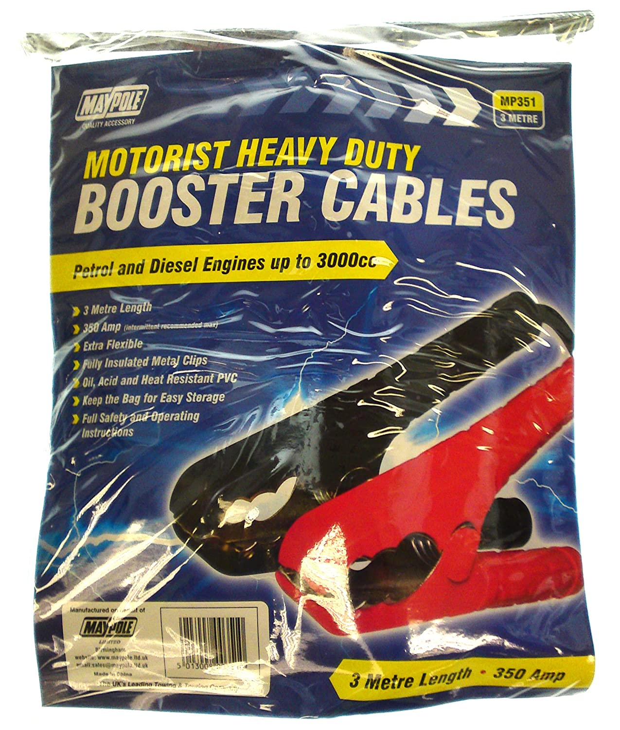 Maypole MP351 10mm x 3m Heavy Duty Booster Cables Maypole Limited