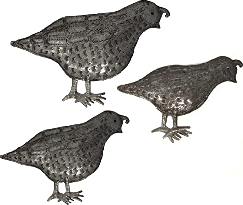 Metal Quail, Handmade in Haiti, Garden Wall Art, Indoor and Outdoor Birds,Set of 3, 11 in. x 7 in, 8 in. x 6 in, 6 in. x 4 in.