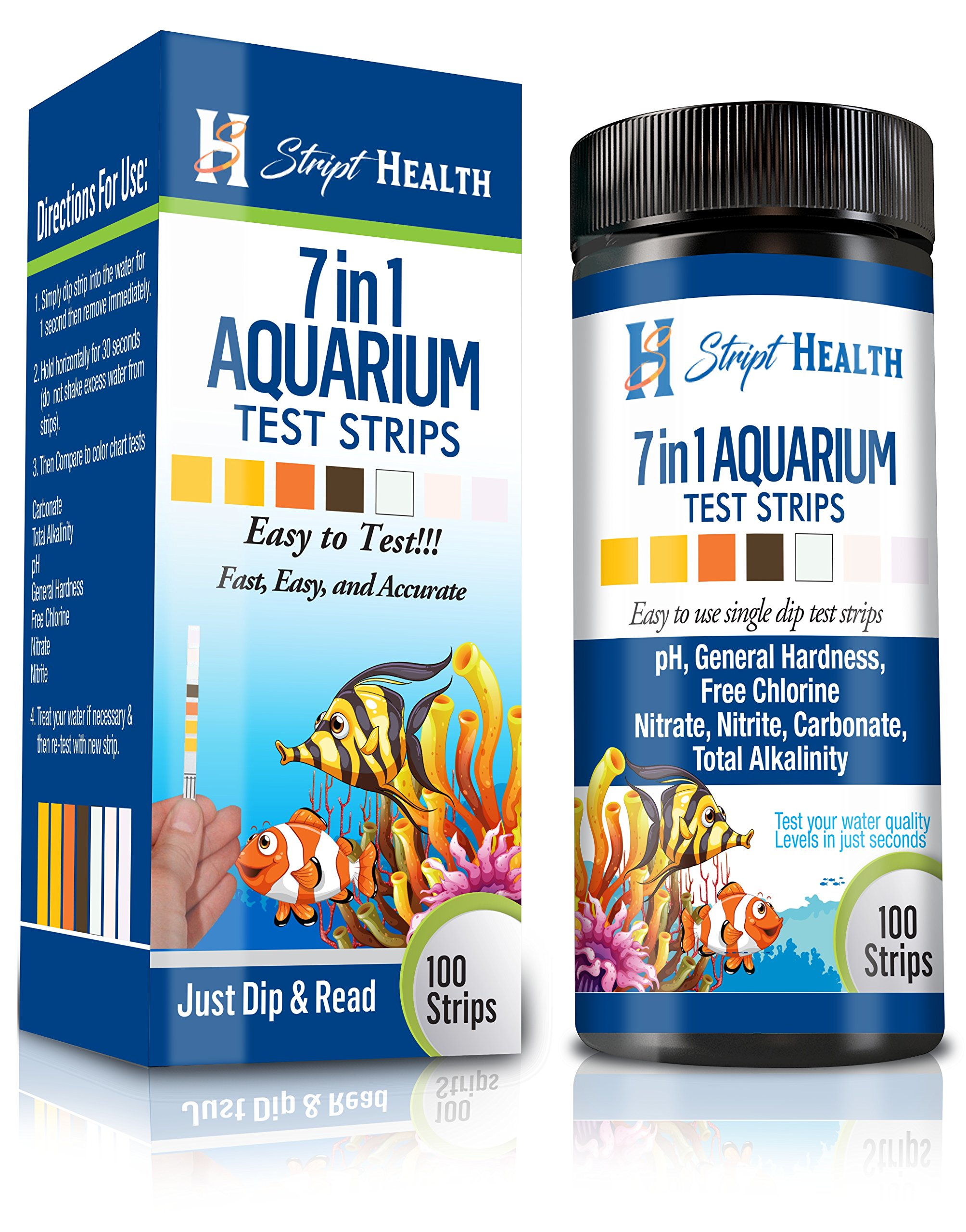 Stript Health 7-Way Aquarium Test Strips 100 Count - Easily Test Your Salt/Fresh Water Tank - Spend More Time Enjoying Your Fish - One Simple Strip Test - Rapid Results - Best Value Kit by Stript Health