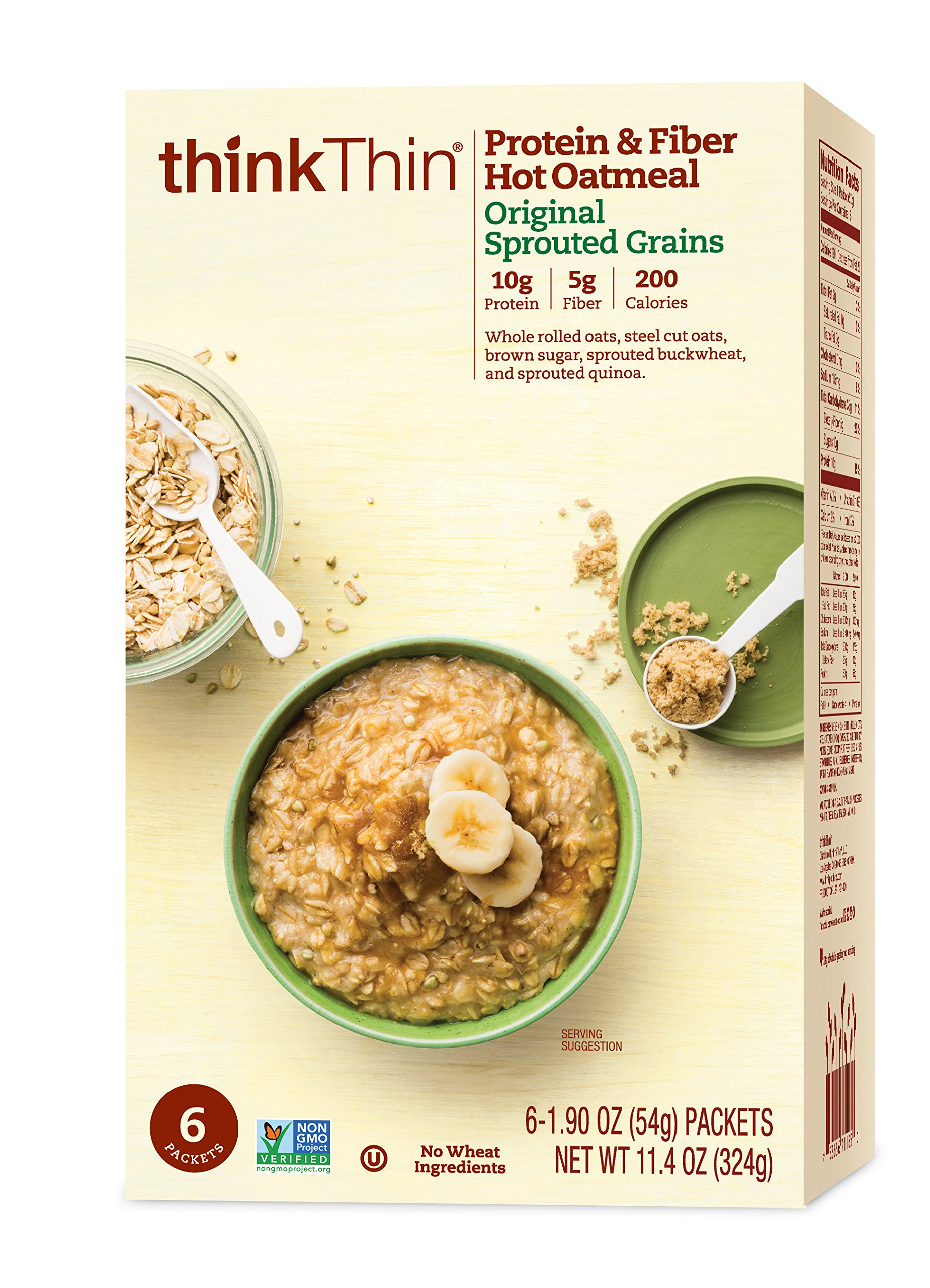 thinkThin Protein & Fiber Hot Oatmeal, Original Sprouted Grains, 6-1.90 oz Packets per Box (12 Boxes)