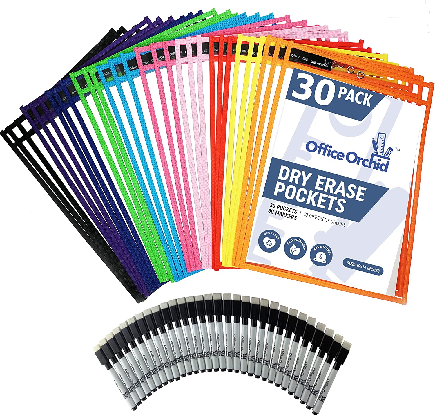 Dry Erase Pockets Reusable Sleeves by Office Orchid - Heavy Duty Oversized 10