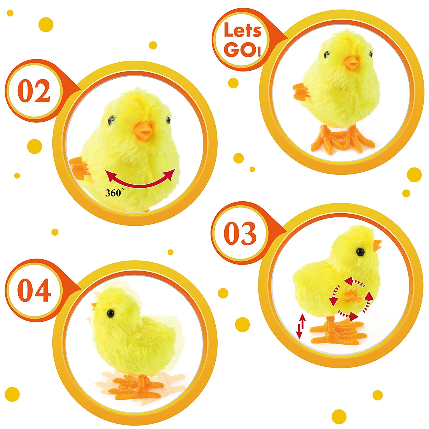 WEWILL Wind-Up Easter Jumping Chicks /& Bunny for Kid 3.5 Inch Hopping Plush Toy Party Favor Toy Gift Pack of 12