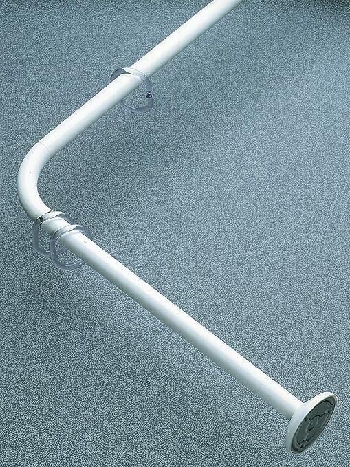 Winkelstange Wei/ß 100/% Rostfrei Duschvorhangstangen L-Form 90x90cm PVC-Beschichtung muss Nicht an der Decke befestigt Werden
