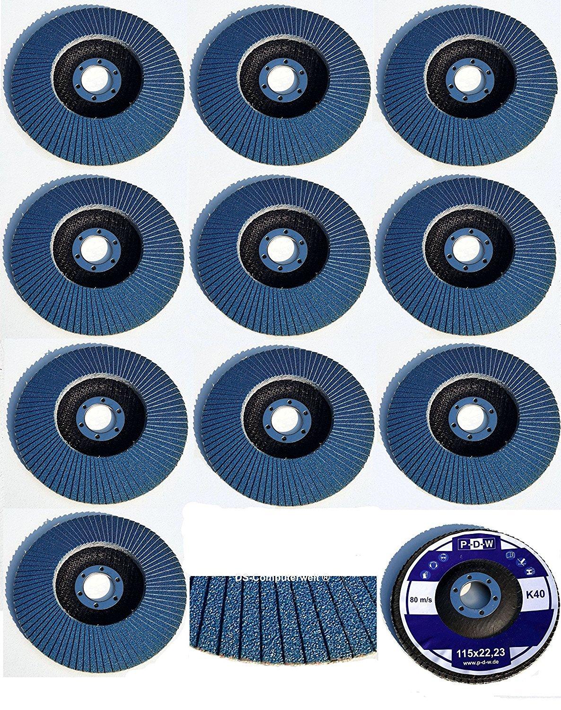 Pack of 20 Abrasive Mop Discs Diameter 115 mm –  Mix Pack –  Assorted, 5 Each Of 40/60/80/120 Blue/Inox Fan Lock Washer/Abrasive Mop Discs Flap TD-Warenhandel