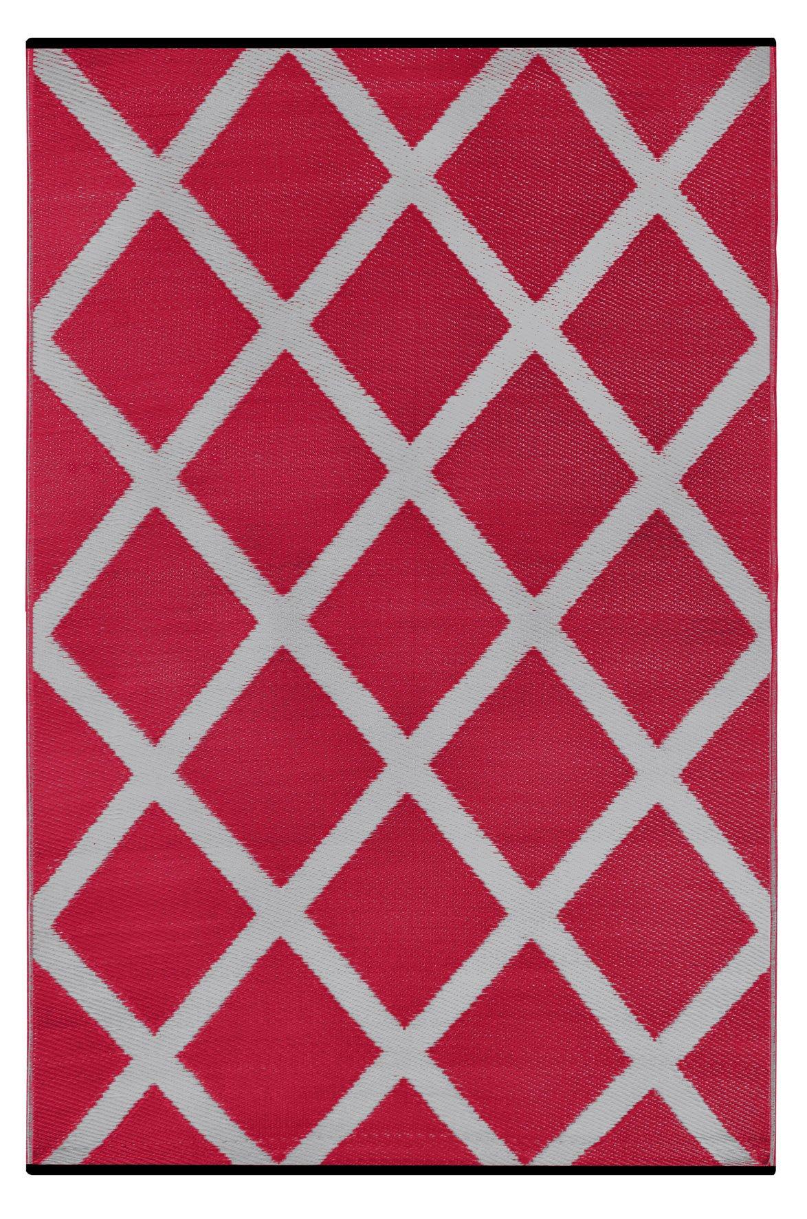 Green Decor Diamond Lightweight Indoor/Outdoor Reversible Plastic Rug, Red/Grey, 3 ft x 5 ft (90 cm x 150 cm)