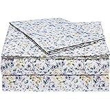 AmazonBasics Microfiber Sheet Set - Twin Extra-Long, Blue Floral