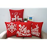 Howarmer 18x18-Inch Cotton Embroidered Throw Pillows Cover (Set of 4)