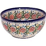 Polish Pottery Ceramika Boleslawiec 0411/280 Royal Blue Patterns with Red Rose Motif Bowl 23, 10 Cup