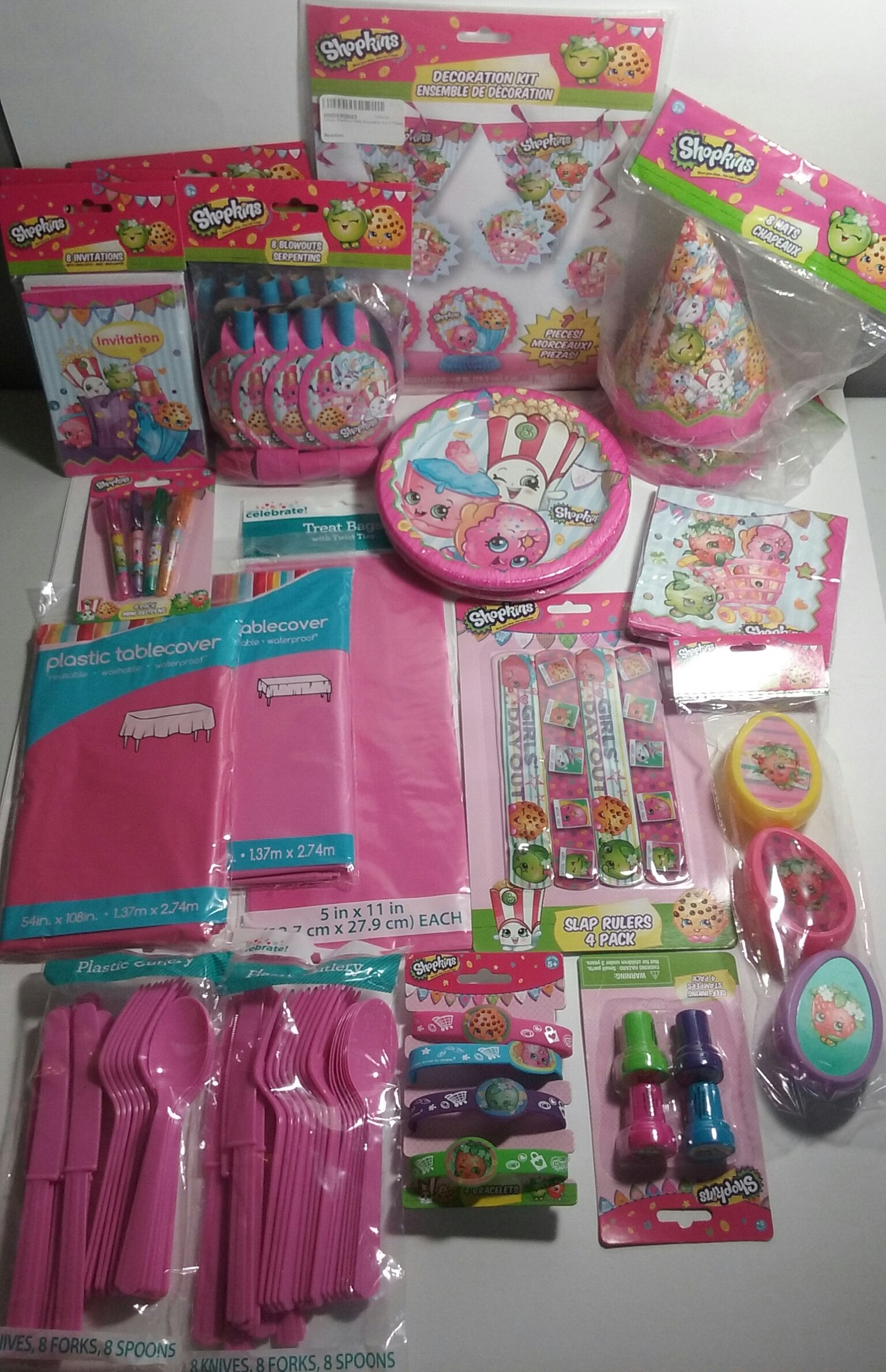 Huge Mega Shopkins Birthday Bundle For 16 Guests Including Invitations, Tableware, Hats, Blow-outs, Decorations and Party Favors by Moose